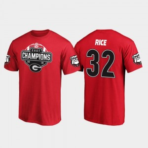 #32 Monty Rice Georgia Bulldogs 2019 SEC East Football Division Champions For Men T-Shirt - Red