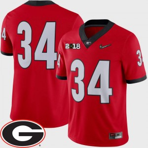 #34 Georgia Bulldogs For Men College Football 2018 National Championship Playoff Game Jersey - Red