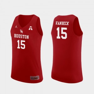 #15 Neil VanBeck Houston Cougars Men's Replica College Basketball Jersey - Red