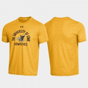 Iowa Hawkeyes Arched Logo Throwback For Men's T-Shirt - Heathered Gold