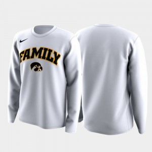 Iowa Hawkeyes Men March Madness Legend Basketball Long Sleeve Family on Court T-Shirt - White