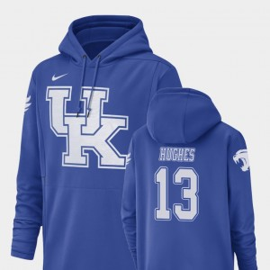 #13 Zy'Aire Hughes Kentucky Wildcats For Men's Champ Drive Football Performance Hoodie - Royal
