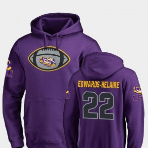 #22 Clyde Edwards-Helaire LSU Tigers Football Game Ball Mens Hoodie - Purple