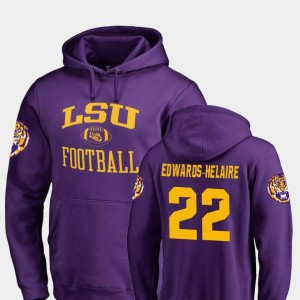 #22 Clyde Edwards-Helaire LSU Tigers Neutral Zone Men's College Football Hoodie - Purple