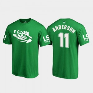 #11 Dee Anderson LSU Tigers For Men's St. Patrick's Day White Logo College Football T-Shirt - Kelly Green