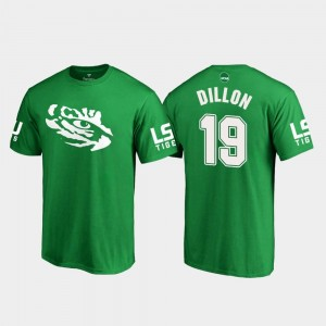 #19 Derrick Dillon LSU Tigers White Logo College Football St. Patrick's Day For Men T-Shirt - Kelly Green