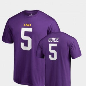 #5 Derrius Guice LSU Tigers Name & Number College Legends For Men's T-Shirt - Purple