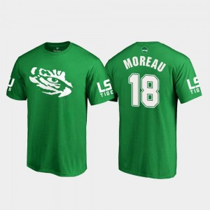 #18 Foster Moreau LSU Tigers St. Patrick's Day Mens White Logo College Football T-Shirt - Kelly Green
