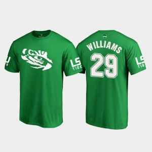#29 Greedy Williams LSU Tigers Mens St. Patrick's Day White Logo College Football T-Shirt - Kelly Green