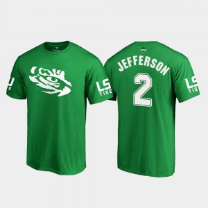 #2 Justin Jefferson LSU Tigers For Men's White Logo College Football St. Patrick's Day T-Shirt - Kelly Green