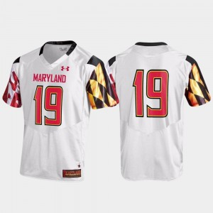 #19 Maryland Terrapins Replica College Football For Men's Jersey - White