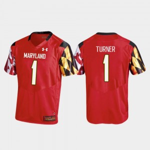 #1 DJ Turner Maryland Terrapins Replica College Football For Men's Jersey - Red