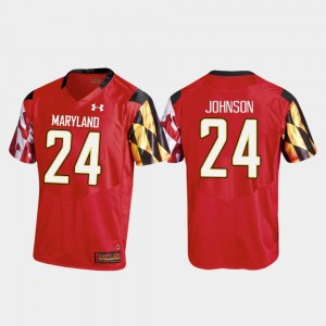 #24 Ty Johnson Maryland Terrapins College Football Men's Replica Jersey - Red