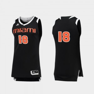 #18 Miami Hurricanes For Men's Chase College Basketball Jersey - Black White