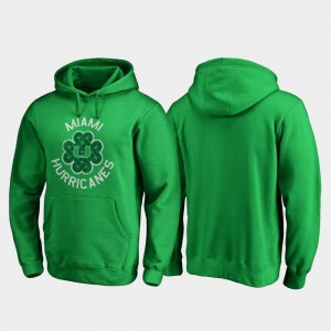 Miami Hurricanes St. Patrick's Day Luck Tradition Men's Hoodie - Kelly Green