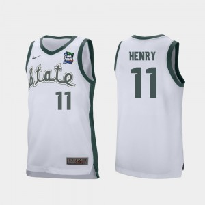 #11 Aaron Henry Michigan State Spartans 2019 Final-Four Retro Performance Mens Jersey - White