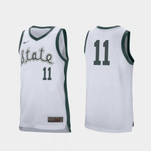 #11 Aaron Henry Michigan State Spartans Retro Performance College Basketball Mens Jersey - White