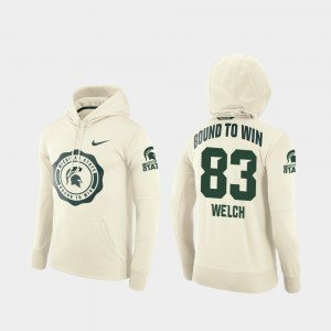 #83 Andre Welch Michigan State Spartans College Football Pullover Rival Therma Mens Hoodie - Cream