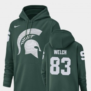 #83 Andre Welch Michigan State Spartans Men Football Performance Champ Drive Hoodie - Green