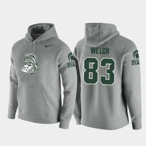 #83 Andre Welch Michigan State Spartans Men Vault Logo Club Pullover Hoodie - Heathered Gray