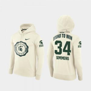 #34 Antjuan Simmons Michigan State Spartans Men's College Football Pullover Rival Therma Hoodie - Cream