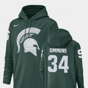 #34 Antjuan Simmons Michigan State Spartans Football Performance Champ Drive Mens Hoodie - Green