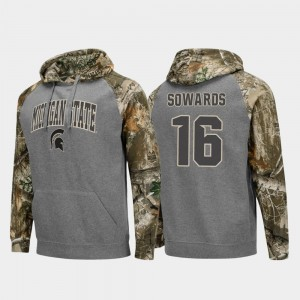 #16 Brandon Sowards Michigan State Spartans Realtree Camo For Men's College Football Raglan Hoodie - Charcoal