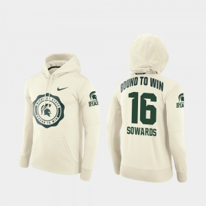 #16 Brandon Sowards Michigan State Spartans Rival Therma Men's College Football Pullover Hoodie - Cream