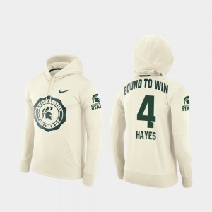 #4 C.J. Hayes Michigan State Spartans Rival Therma College Football Pullover For Men's Hoodie - Cream