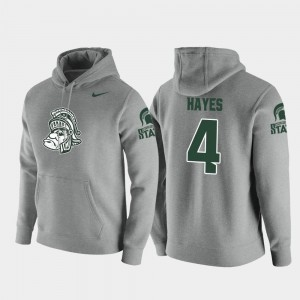 #4 C.J. Hayes Michigan State Spartans Pullover Vault Logo Club For Men Hoodie - Heathered Gray