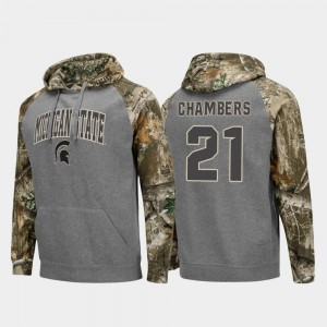 #21 Cam Chambers Michigan State Spartans Mens Realtree Camo College Football Raglan Hoodie - Charcoal
