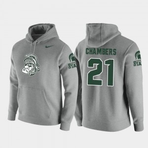 #21 Cam Chambers Michigan State Spartans Pullover Vault Logo Club Men Hoodie - Heathered Gray