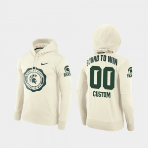 #00 Michigan State Spartans Men's Rival Therma College Football Pullover Custom Hoodie - Cream