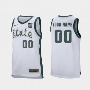 #00 Michigan State Spartans Retro Performance 2019 Final-Four For Men Customized Jersey - White
