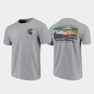 Michigan State Spartans For Men Campus Scenery Comfort Colors T-Shirt - Gray