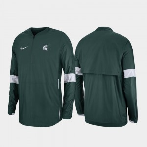 Michigan State Spartans 2019 Coaches Sideline Mens Quarter-Zip Jacket - Green