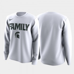 Michigan State Spartans For Men's Family on Court March Madness Legend Basketball Long Sleeve T-Shirt - White