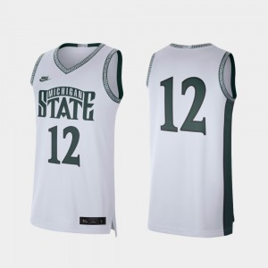 #12 Michigan State Spartans Retro Limited For Men's College Basketball Jersey - White