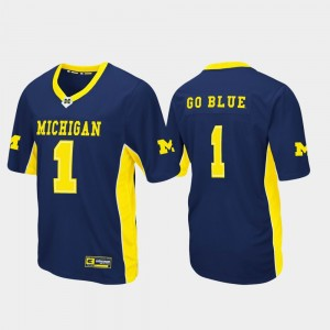 #1 Michigan Wolverines Max Power For Men's Football Jersey - Navy