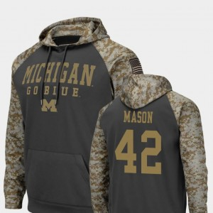 #42 Ben Mason Michigan Wolverines Men Colosseum Football United We Stand Hoodie - Charcoal
