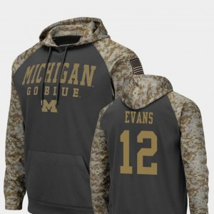 #12 Chris Evans Michigan Wolverines Colosseum Football United We Stand Mens Hoodie - Charcoal