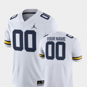#00 Michigan Wolverines 2018 Game College Football For Men Custom Jersey - White