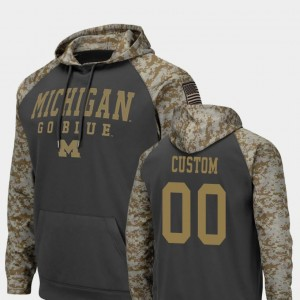 #00 Michigan Wolverines Men's Colosseum Football United We Stand Custom Hoodie - Charcoal