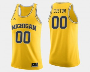 #00 Michigan Wolverines Mens College Basketball Customized Jersey - Maize