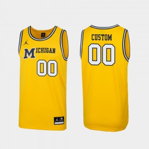 Michigan Wolverines Men #00 1989 Throwback College Basketball Replica Customized Jersey - Maize