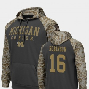 #16 Denard Robinson Michigan Wolverines United We Stand For Men Colosseum Football Hoodie - Charcoal