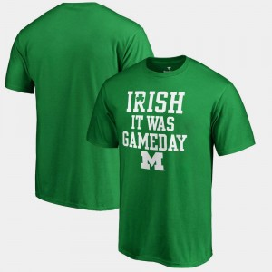 Michigan Wolverines St. Patrick's Day Irish It Was Gameday For Men's T-Shirt - Kelly Green