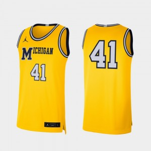 #41 Michigan Wolverines Retro Limited For Men College Basketball Jersey - Maize