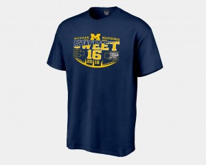 Michigan Wolverines For Men 2018 March Madness Basketball Tournament Sweet 16 Bound T-Shirt - Navy