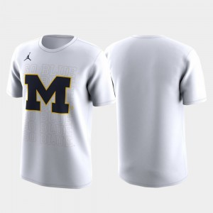 Michigan Wolverines Mens March Madness Legend Basketball Performance Family on Court T-Shirt - White